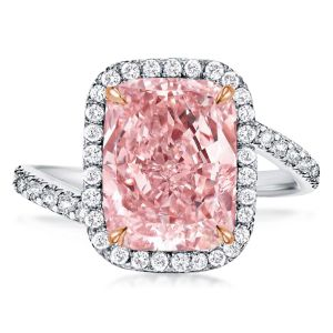 Halo Radiant Created Pink Sapphire Engagement Ring
