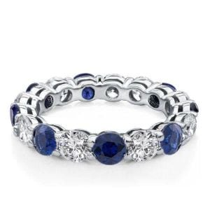 Round Cut Blue Sapphire Eternity Wedding Band