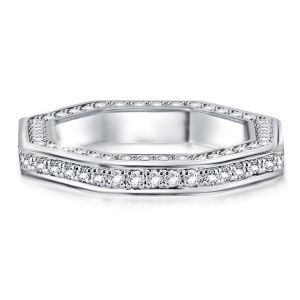 Octagonal Three Sided Pave Wedding Band