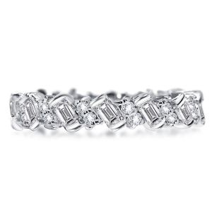 Baguette & Round Cut Eternity Wedding Band