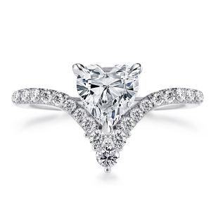 V-Design Heart Cut Engagement Ring