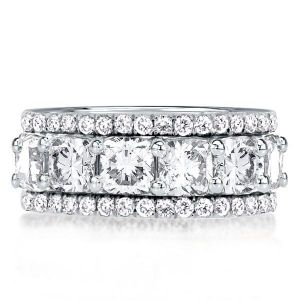 Triple Row Cushion Cut Wedding Band