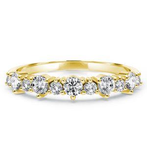 Golden Half Eternity Round Wedding Band
