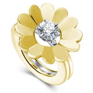 Golden Round Cut Solitaire Flower Design Wedding Set