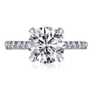 Unique Four Prong Round Cut Engagement Ring