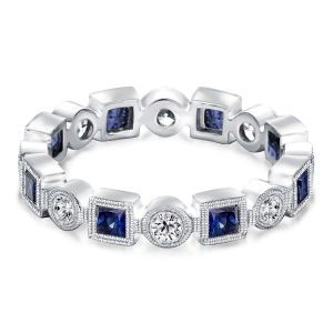 Bezel Set Blue Stackable Wedding Band
