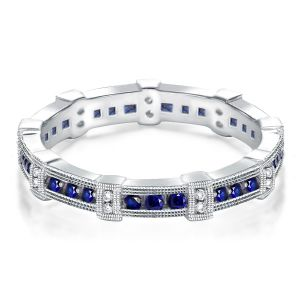 Eternity Bezel Set Blue & White Wedding Band