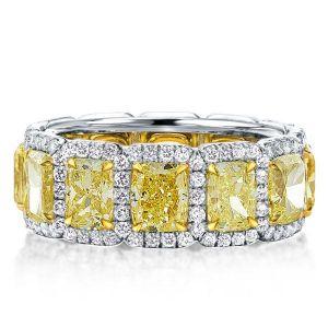 Yellow Golden Prong Cushion Cut Wedding Band For Women