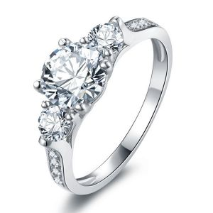 Italo Classic Three Stone Created White Sapphire Engagement Ring