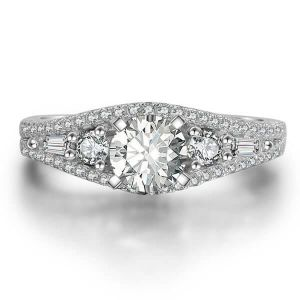 Italo Five Stone Created White Sapphire Engagement Ring