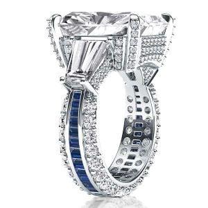 Italo Three Stone Radiant Created White Sapphire Engagement Ring