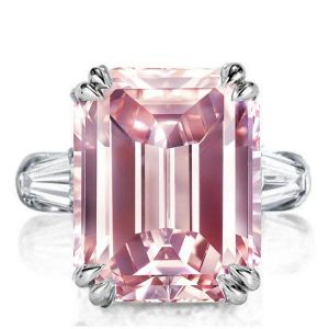 Italo Three Stone Emerald Created Pink Sapphire Engagement Ring