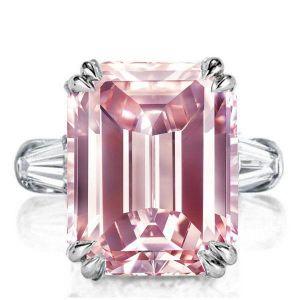 Pink Emerald Cut Ring