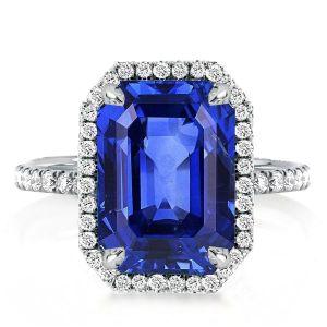 Halo Emerald Cut Blue Sapphire Engagement Ring