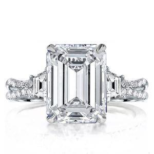 three stone split shank engagement rings