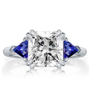 White & Blue Three Stone Princess Cut Engagement Ring