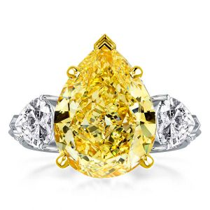 Two Tone Three Stone Pear Cut Engagement Ring