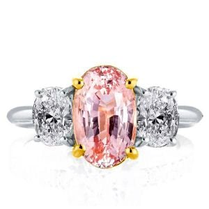 Two Tone Three Stone Pink Oval Engagement Ring