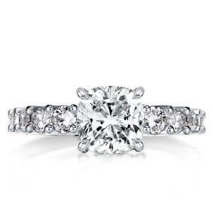 Classic Cushion Cut White Engagement Ring