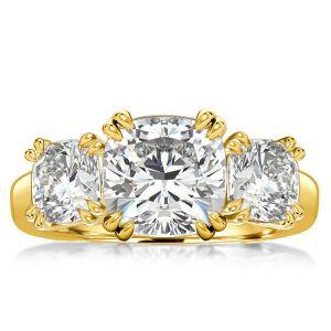 Gold Three Stone Cushion Cut Engagement Ring