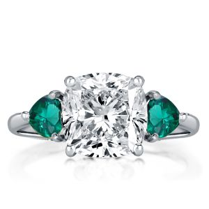 Three Stone Cushion & Heart Cut Engagement Ring
