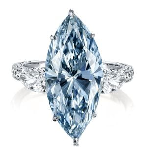 Three Stone Marquise Cut Blue Engagement Ring
