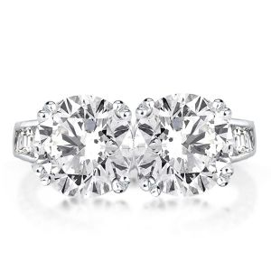 Double Prong Twin Stone Engagement Ring