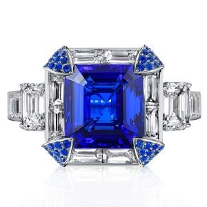 Halo Emerald Cut Created Sapphire Engagement Ring