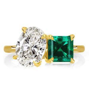 Oval & Asscher Cut Golden Engagement Ring