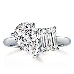 Pear & Emerald Cut Twin Engagement Ring