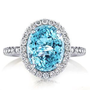 Halo Oval Cut Aquamarine Sapphire Engagement Ring