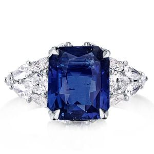Radiant & Pear Cut Multi-shape Created Blue Sapphire Engagement Ring