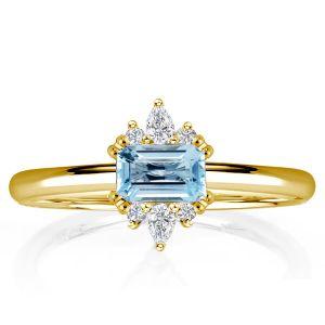 Golden East West Emerald Aquamarine Engagement Ring
