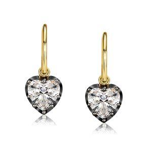 Two Tone Gypsy Setting Heart Hoop Earrings