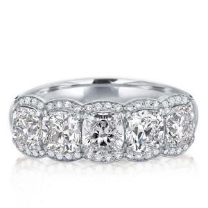 Italo Halo Cushion Created White Sapphire Wedding Band