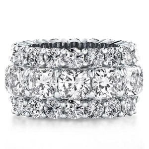 Triple Row Eternity Cushion Wedding Band