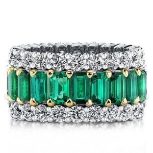 Two Tone Triple Row Created Emerald Wedding Band(8.25 CT. TW.)