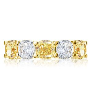 Golden Yellow Cushion Cut Wedding Band