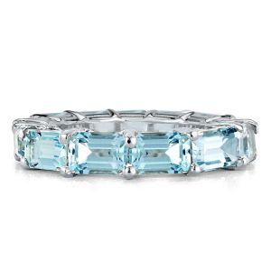 Aquamarine Emerald Eternity Wedding Band