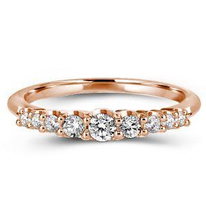 Dainty Rose Gold Round Cut Wedding Band