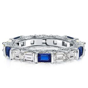 Milgrain Alternating Blue & White Created Sapphire Eternity Wedding Band
