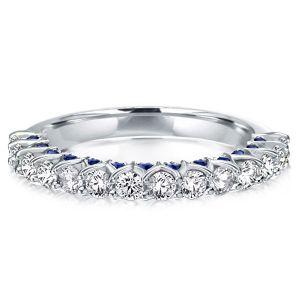 Half Eternity Hidden Sapphire Wedding Band