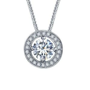 Halo Sapphire Pendants For Women