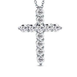 Cross Design Pendant Necklace (1.10 CT. TW.)