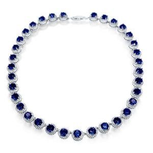 Sapphire Halo Necklace