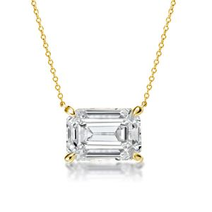 Golden Emerald Cut Pendant Necklace