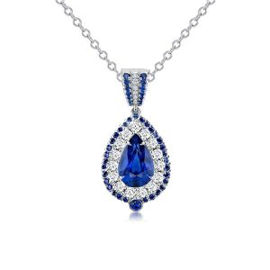 Double Halo Pear Cut Blue Pendant Necklace