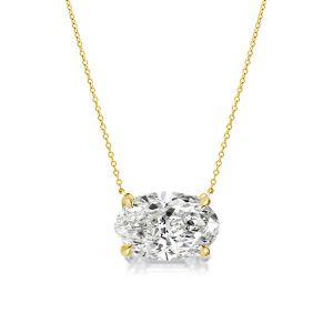 Golden Oval Cut Pendant Necklace