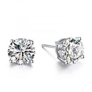 Italo Classic 4 Prong Created White Sapphire Stud Earrings