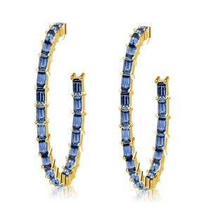 Golden Blue Baguette Cut Hoop Earrings